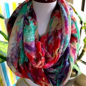 Vibrant, versatile pixel print infinity scarf